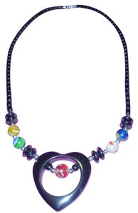 Murano Glass Bead Heart Necklace