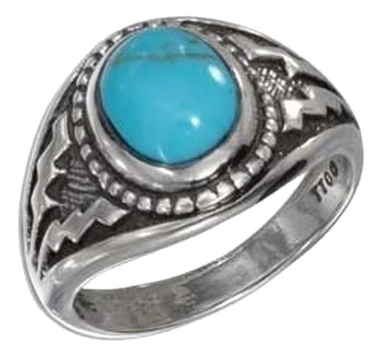 unknown STERLING SILVER OVAL TURQUOISE WITH WIDE AZTEC DESIGN SHANK