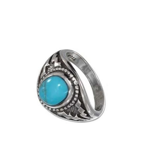 unknown STERLING SILVER OVAL TURQUOISE WITH WIDE AZTEC DESIGN SHANK Image 1