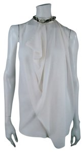 3.1 Phillip Lim Crystal Band Collar Draped Top Off White