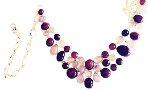 Amazing Carnelian and Rose Quartz 925 Sterling Silver Statement Necklace