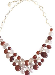 Other Amazing Carnelian and Rose Quartz Silver Statement Necklace