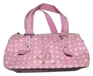 Saint Laurent Mint Vintage Rare Retro/mod Chrome Hardware Satchel in pink leather/pink and white polka dot print fabric