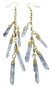 Handmade Raw Quartz Dangle Earrings