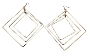 New Women Earrings Big Fashion Gold Metal Geometric Squares Sexy Design Hook