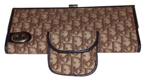 Dior Mint Vintage & Pouch Set 1960's Mod Style Dressy Or Casual Brown/cream trotter logo print canvas/brown leather Clutch