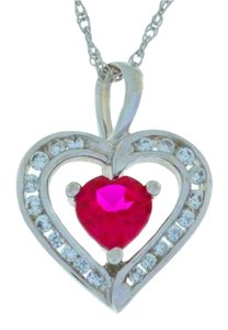 Other 1 Ct Ruby & Zirconia Heart Pendant .925 Sterling Silver