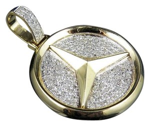 Other Mens 10k Yellow Gold Mercedes Medallion Genuine Diamond Pendant Charm 1.0ct