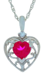 Other 1 Ct Ruby Heart Pendant .925 Sterling Silver