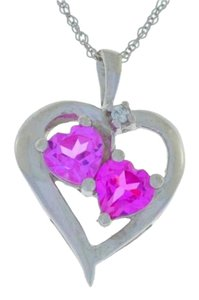 Other 1 Ct Pink Sapphire Double Heart Pendant .925 Sterling Silver