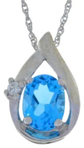 1.5 Ct Swiss Blue Topaz Oval Pendant .925 Sterling Silver