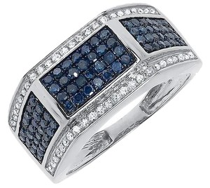 10k White Gold Mens Blue White Pave Diamond 11mm Fashion Wedding Band Ring 1 ct