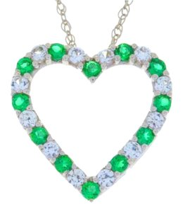 Other Emerald & White Sapphire Heart Pendant .925 Sterling Silver