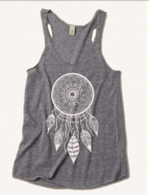 Alternative Apparel Boho Dreamcatcher Dream Catcher Freebirdcloth Women Clothing Tri-blend Racerback Yoga Triblend Screenprint Shirt Top Gray