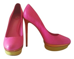 Brian Atwood B Platform Yellow Fontanne Hot Pink & gold stiletto Pumps