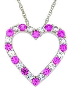 Other Pink & White Sapphire Heart Pendant .925 Sterling Silver