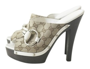 Gucci Horse-bit Icon Bit Leather Summer Italian Fashion High Heels Heels White with Gucci Guccissima Canvas Mules