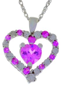 Other 1 Ct Pink Sapphire & Diamond Heart Pendant .925 Sterling Silver