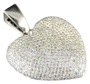 Other White Gold Ladies Puffed Heart Genuine Pave Set Diamond Pendant/Charm 2.5 Ct