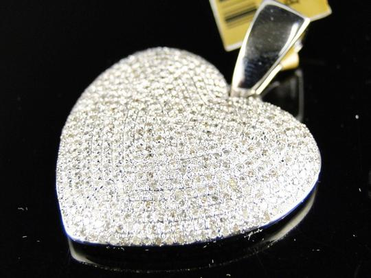 Other White Gold Ladies Puffed Heart Genuine Pave Set Diamond Pendant/Charm 2.5 Ct Image 1