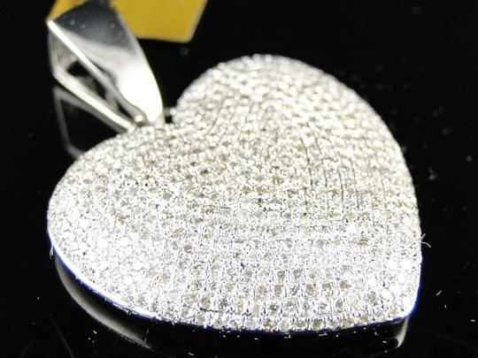 Other White Gold Ladies Puffed Heart Genuine Pave Set Diamond Pendant/Charm 2.5 Ct Image 3