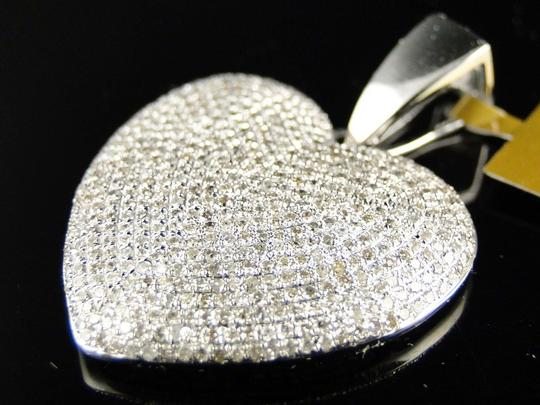 Other White Gold Ladies Puffed Heart Genuine Pave Set Diamond Pendant/Charm 2.5 Ct Image 5
