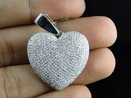Other White Gold Ladies Puffed Heart Genuine Pave Set Diamond Pendant/Charm 2.5 Ct Image 8