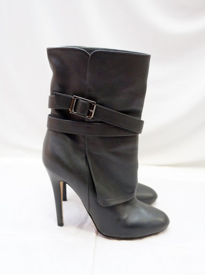 Jimmy Choo Gray Buckle Heel Charcoal Boots