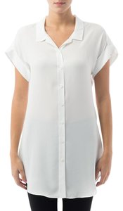 Joseph Ribkoff Lightweight Short Sleeve Button Front Top Off White