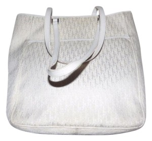 Dior Mint Vintage Or Satchel Chrome Hardware Great Summer Piece Tote in white Dior trotter print