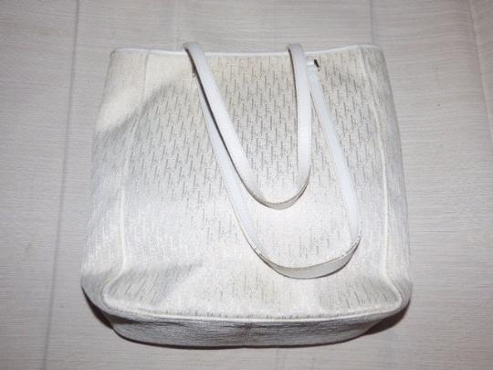 Dior Mint Vintage Or Satchel Chrome Hardware Great Summer Piece Tote in white Dior trotter print Image 2