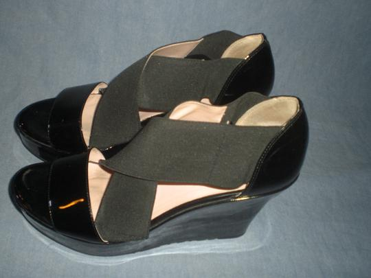 Taryn Rose Platform Patent Leather black Wedges Image 4