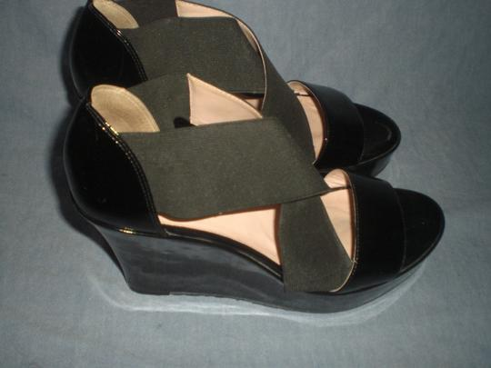 Taryn Rose Platform Patent Leather black Wedges Image 6