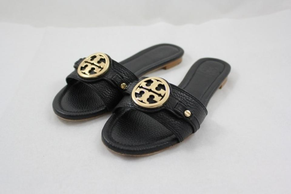 3e2a7b00f89 Tory Burch Black Leticia Flat Slide In Tumbled Leather Sandals Size ...