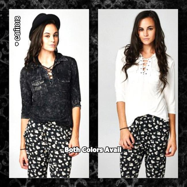 Other Bohemian Burnout Worn Lace Collar Button Down Shirt Black Image 1