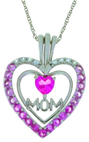 Preload https://img-static.tradesy.com/item/17916787/mom-pendant-with-pink-and-white-sapphire-925-sterling-silver-necklace-0-1-540-540.jpg