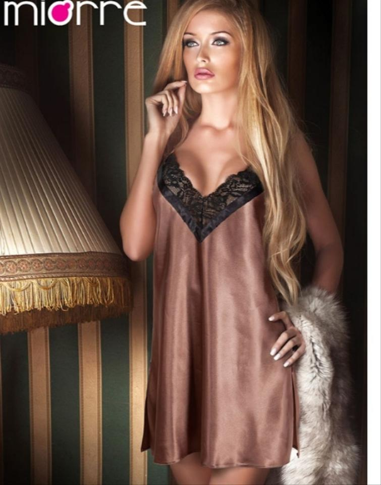 fff8ce071c65 Coffee Caramel Satin Women s Night Lingerie Gown L Xl Sexy Bridesmaid Mob  Dress Size ...