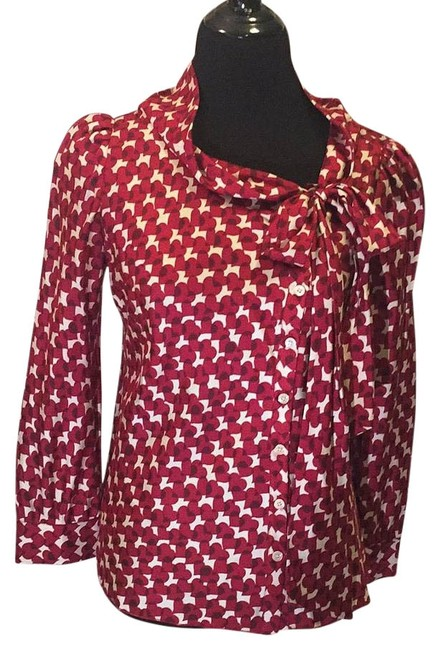 Item - Red Bow Blouse Button-down Top Size 10 (M)