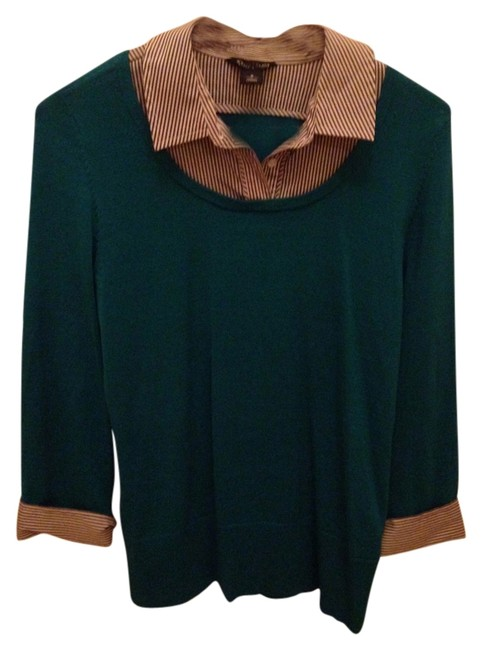 White House | Black Market Shirt Sweater Work Striped Top Teal