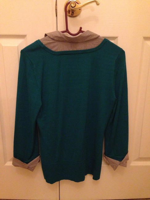 White House | Black Market Shirt Sweater Work Striped Top Teal Image 1