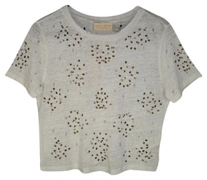 Alice + Olivia Sequined Distressed Linen Cropped T Shirt