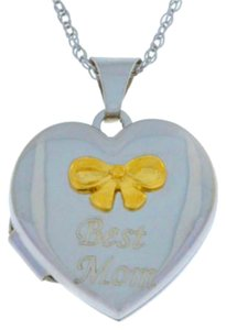 10Kt Yellow Gold Best Mom Heart Locket Bow Pendant