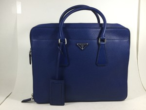Prada New Blue Leather Handbag Tote Laptop Bag