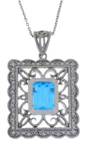 Other 1.5 Ct Blue Topaz & Diamond Emerald Cut Pendant .925 Sterling Silver