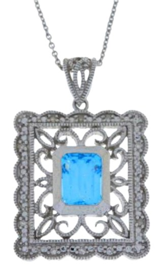 Preload https://img-static.tradesy.com/item/17917315/15-ct-blue-topaz-and-diamond-emerald-cut-pendant-925-sterling-silver-necklace-0-1-540-540.jpg