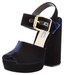Prada Velvet Gold Blue Buckle Blue (blu) Platforms