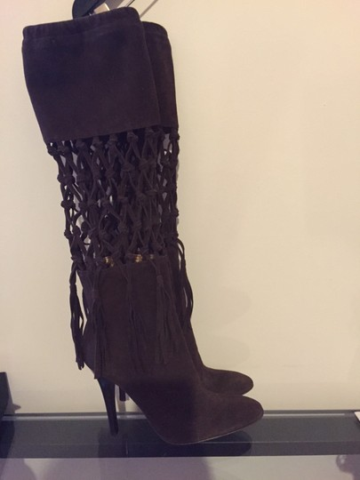 MAKE ME AN OFFER- Roberto Cavalli Brown Suede Boots Image 1