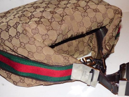 Gucci Popular Style Accessory Col Print Navy/Red Stripe Snap Front Pocket/Top Zip Hobo Bag Image 2