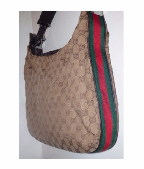 Gucci Popular Style Accessory Col Print Navy/Red Stripe Snap Front Pocket/Top Zip Hobo Bag Image 3