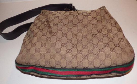 Gucci Popular Style Accessory Col Print Navy/Red Stripe Snap Front Pocket/Top Zip Hobo Bag Image 4